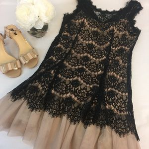 Betsy & Adam Black Lace Overlay A Line Dress Sz 14